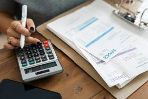 accountant with invoices