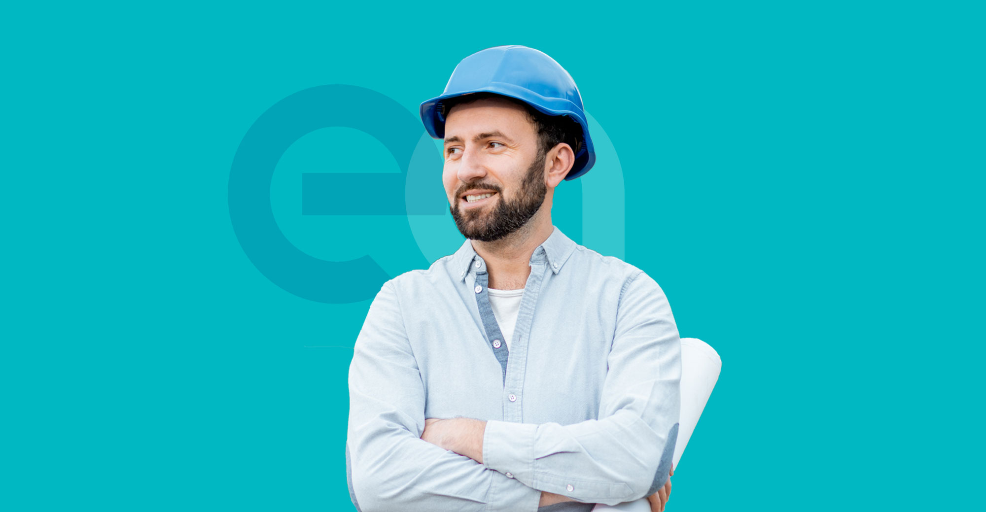 Building and construction worker with EA logo