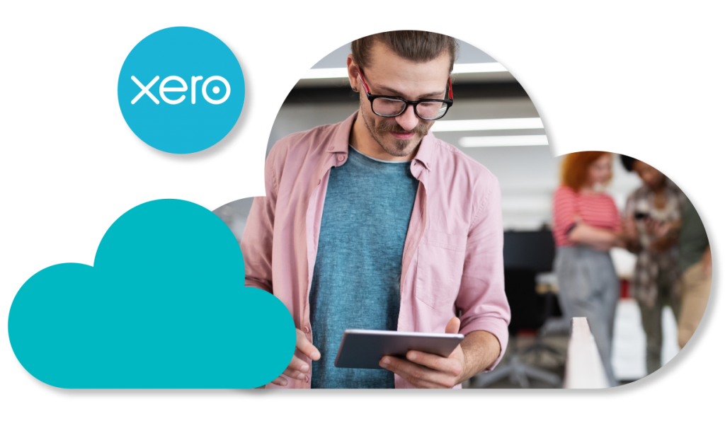 Man on tablet in cloud with Xero logo