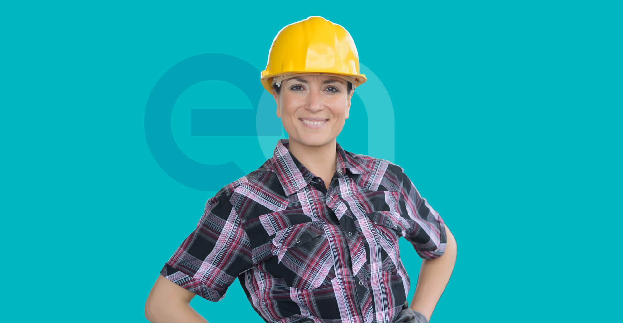 Female construction worker smiling with EA logo