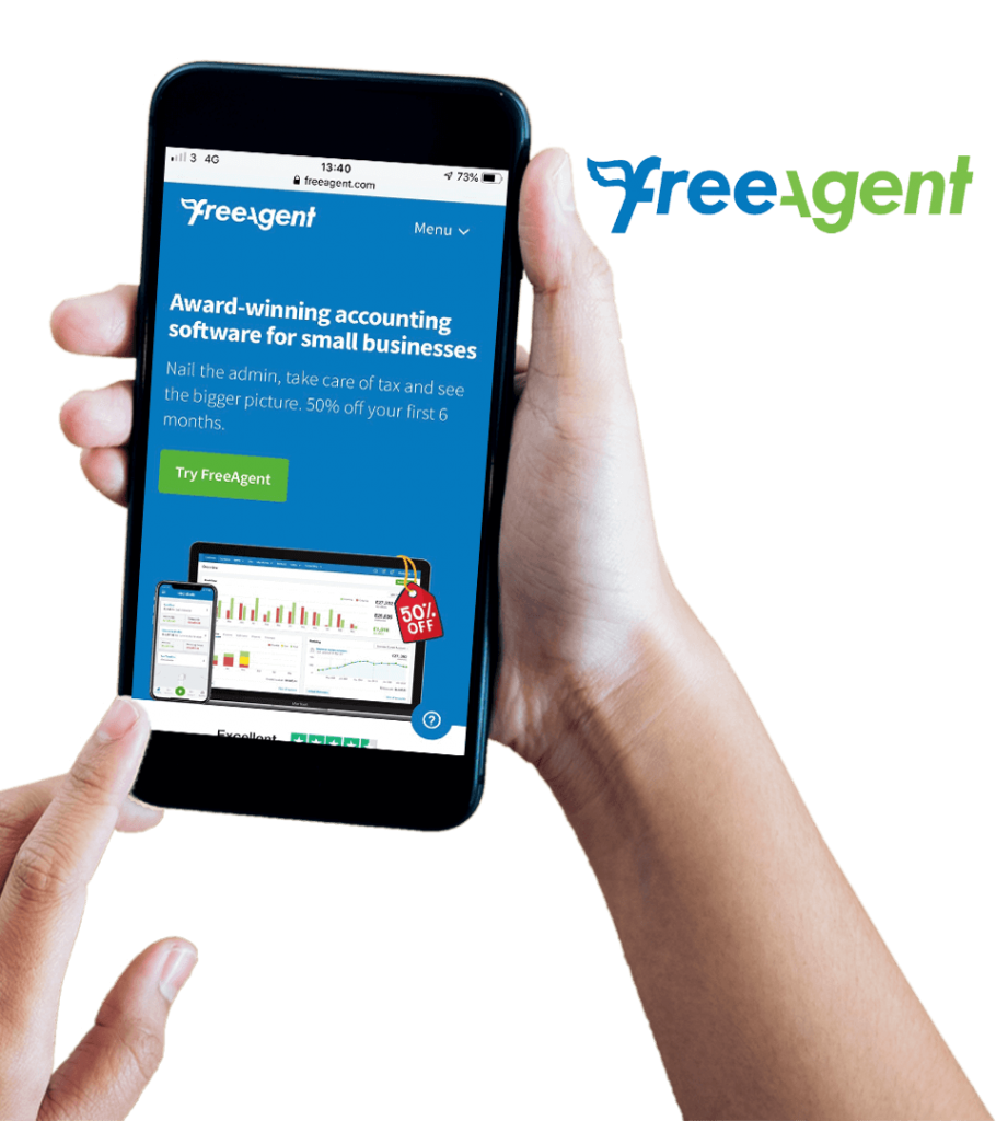 FreeAgent Accounting website on mobile screen