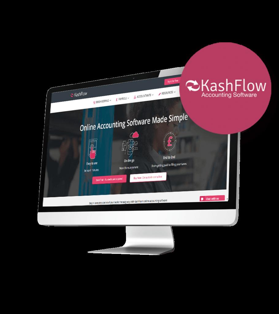 KashFlow Accounting website on desktop screen