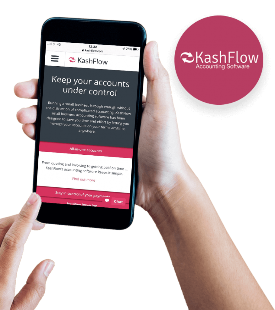 KashFlow Accounting website on mobile screen