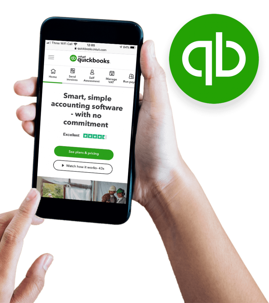 Quickbooks Accounting website on mobile screen