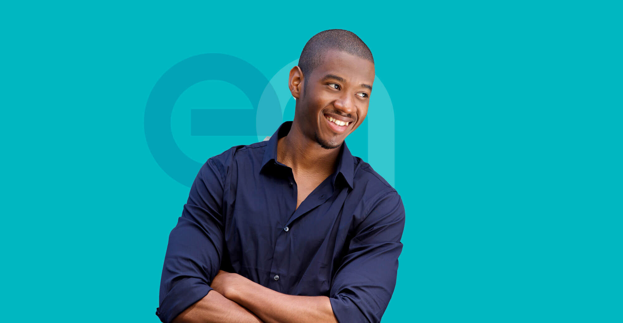 Business man in shirt smiling with EA logo